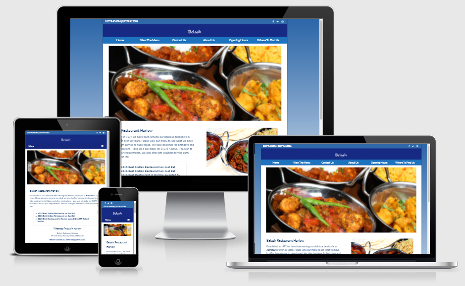 Website created for local Indian Restaurant